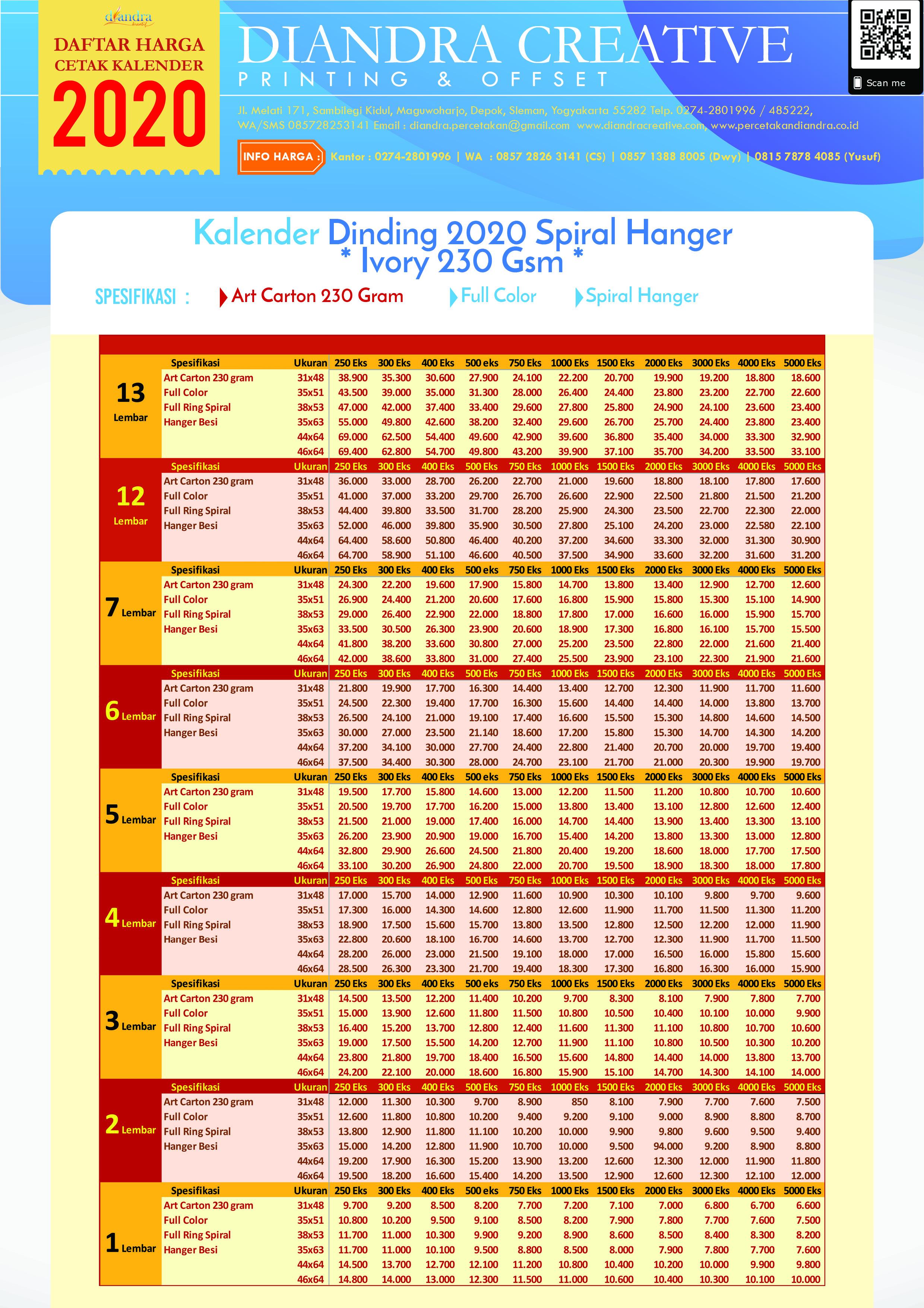 Cetak Kalender Dinding 2020 Spiral