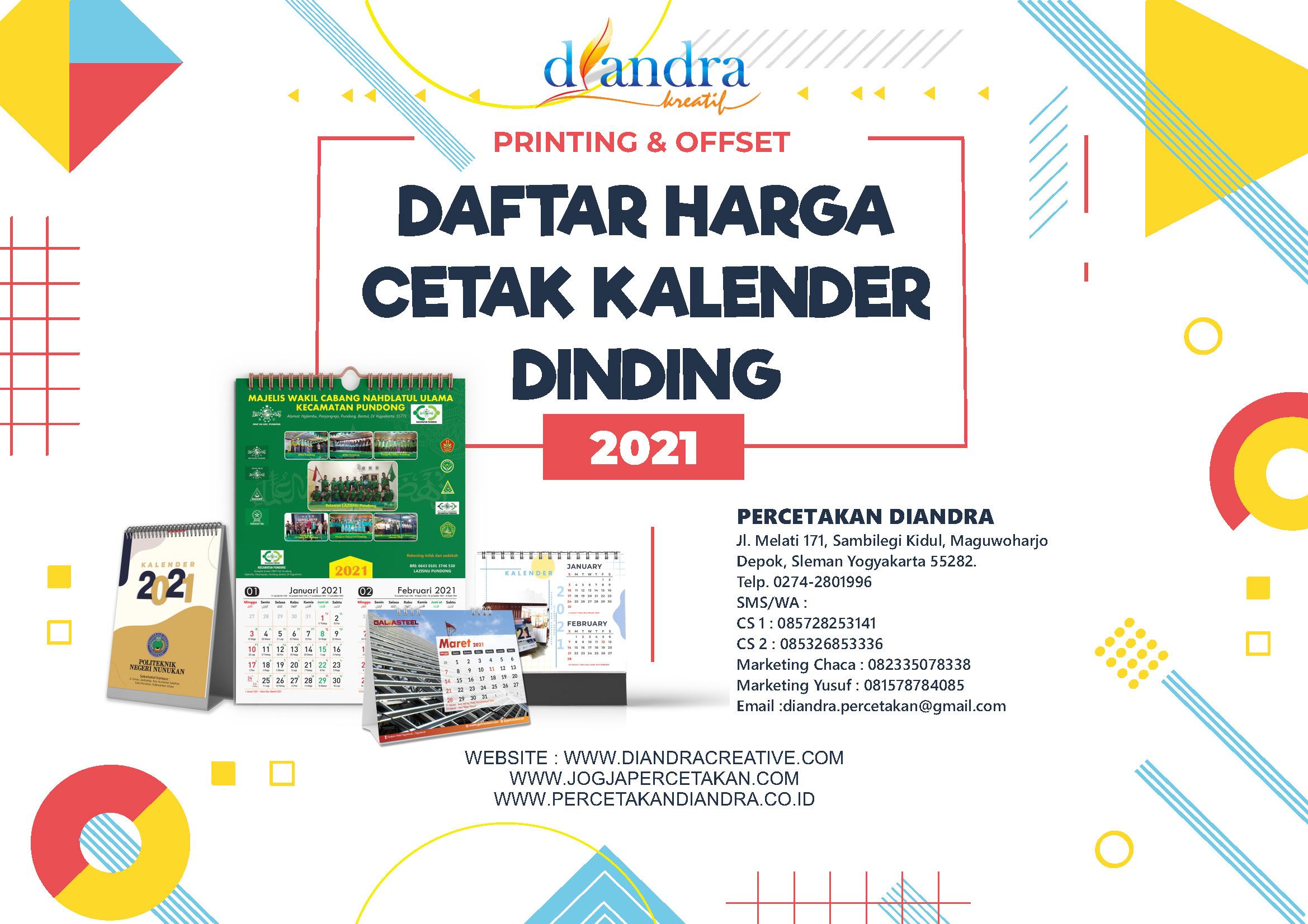 Harga Cetak Kalender 2022